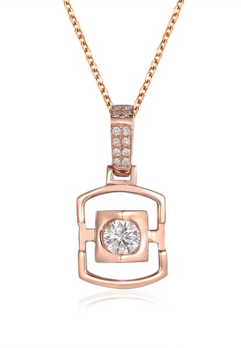 Prince Jewellery And Watch red and gold 18K Rose Gold Diamond Square Pendent 5F98FACCD6F845GS_1