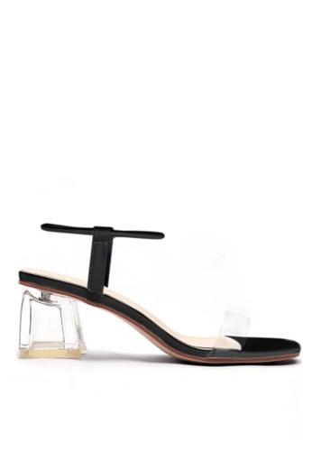 Twenty Eight Shoes 黑色 水晶玻璃踭涼鞋1801-2 50F52SH86764FCGS_1