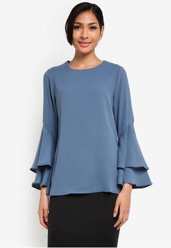 BYN blue Flare Sleeve Top BY059AA26VKVMY_1