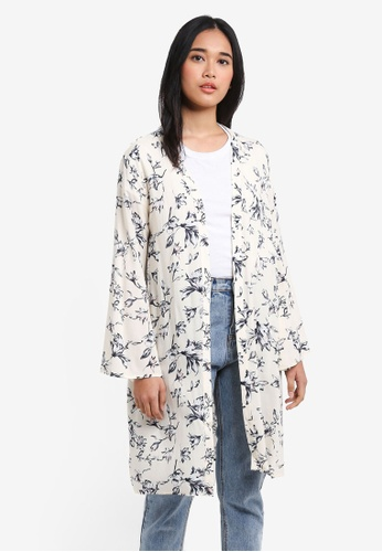 Something Borrowed white Flare Sleeve Kimono Cardigan B0DC7AACE39679GS_1