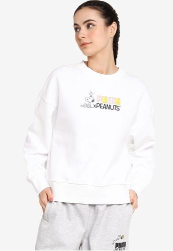PUMA white PUMA x PEANUTS Crew Neck Women's Sweatshirt E4D2FAA3B3735BGS_1