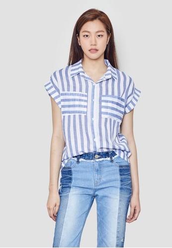 條紋短袖襯衫, 服飾,esprit outlet台北 上衣