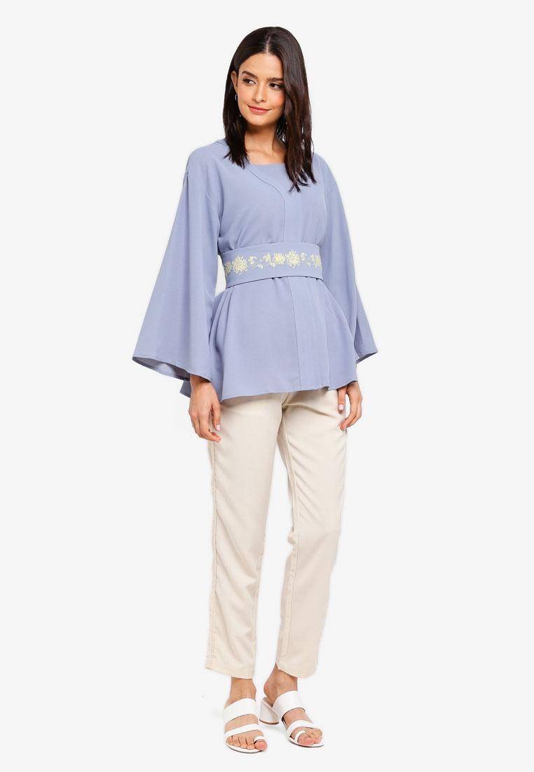 Kimono Zalia Blue Dusty Top Embroidered Yqzq5p