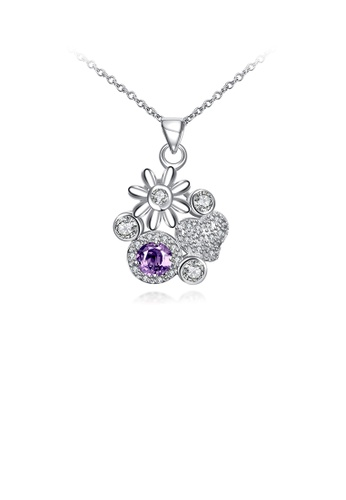 Glamorousky white Fashion Elegant Flower Heart Pendant with Purple Cubic Zircon and Necklace 962EAAC8D79ECCGS_1