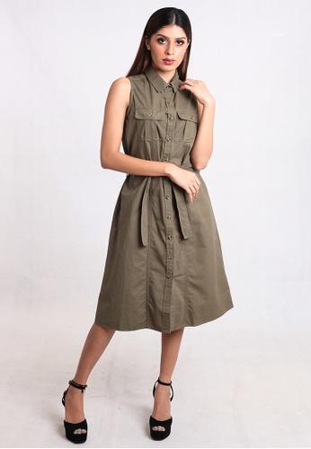 e78dbc02f8fd East India Company green Dona Utility Twill A-Line Short Dress  6CC8FAA319D469GS 1