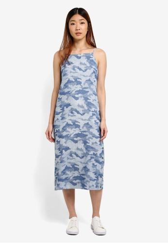 Something Borrowed blue Snap Button Slit Midi Dress 94330AA903FC54GS_1
