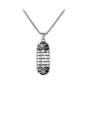 Glamorousky silver Fashion Vintage Wishful Abacus 316L Stainless Steel Pendant with Necklace 14E39AC419D254GS_1