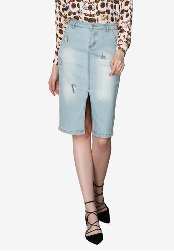 Hopeshow blue Long Denim Skirt with Front Slits B866AAAB1BFAECGS_1