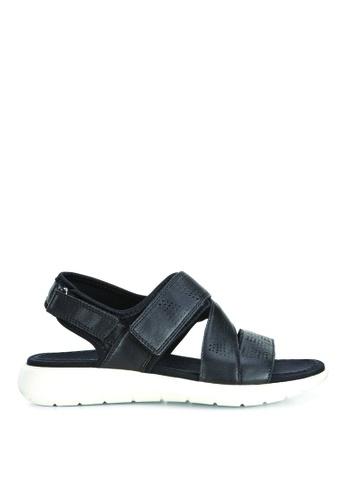 ECCO black Soft 5 Sandal Black/Black Droid/Textile 15BB1SHFB79ABAGS_1