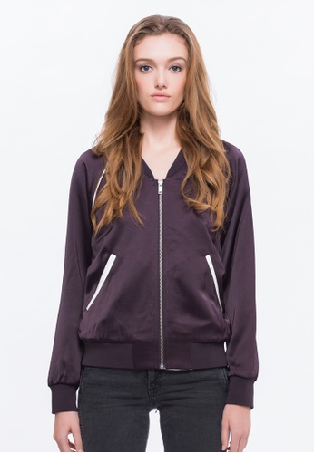 Alpha Style purple Chloe Low Neck Bomber Jacket AL461AA0FVCQSG_1