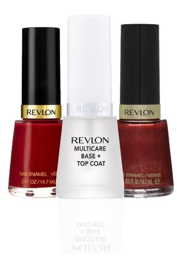 Revlon red REVLON® NAIL ENAMEL SET - Revlon MultiCare Base + Top Coat™ + RAVEN RED + SAUCY RE737BE10CYBSG_1