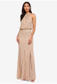 2d181112a55b Lipsy gold Sequin Twist Neck Maxi Dress EA3D2AA5856995GS 1