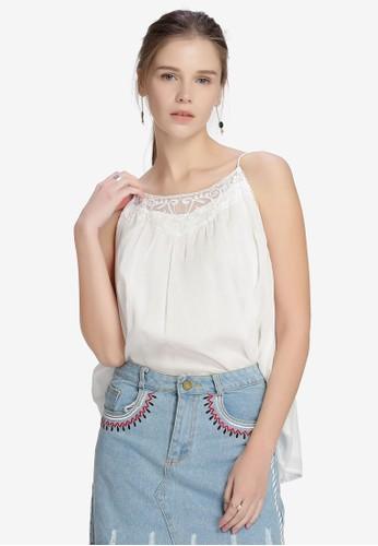 Hopeshow white Lace Cami Top 9CDF5AAE348242GS_1