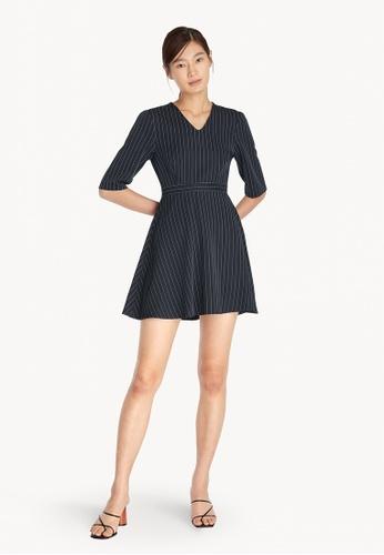 Pomelo blue Flared Stripe V Neck Dress - Navy 35ED8AAFB1B7BDGS_1