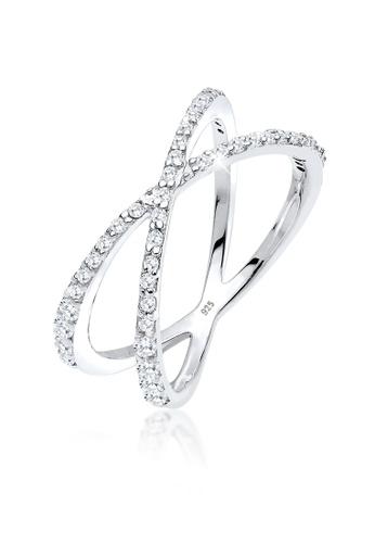 ELLI GERMANY white Elli Germany Ring Sterling Silver Zirconia Crossed 0CB1BAC0D65C54GS_1