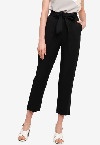 ZALORA WORK black Tie Waist Peg Leg Long Pants 6CAECAAC246185GS_1