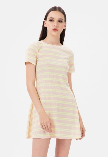 MKY Clothing yellow and multi MKY Candy Pastel Stripe Mini Dress in Yellow E2C17AAD90C720GS_1
