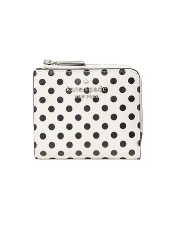Kate Spade white and multi Kate Spade Staci Picture Dot Small L Zip Bifold Wallet WLR00095 99626ACFC3C037GS_1