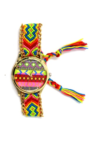World of Watches multi Ethnic Pattern-G Crochet Strap Watch 007 WO566AC24UEDPH_1