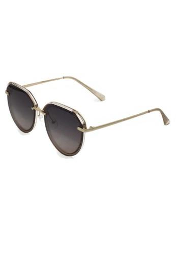 jojo brown Frameless Gold Details Oval Polarized Sunglasses 937A3GLDB9125EGS_1