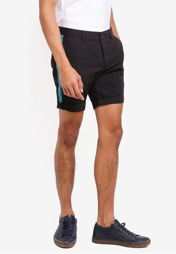 Topman black Black Side Taping Chino Shorts 08D09AA7DF4030GS_1