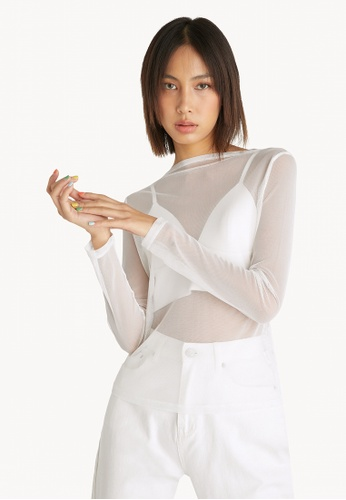 Pomelo white Sheer Long Sleeves Top - White 30620AA74F3094GS_1