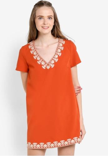 Something Borrowed orange Embroidered V-Neck Shift Dress BA437AACC0C60DGS_1