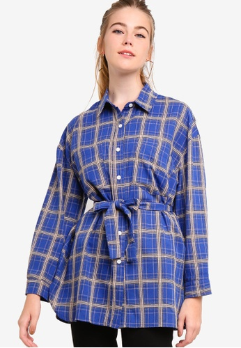 Something Borrowed blue Oversized Shirt With Self Tie 6C14EAA4D00F7FGS_1