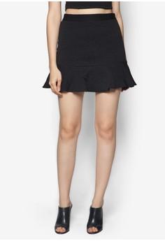 Textured Fluted Hem Skirt