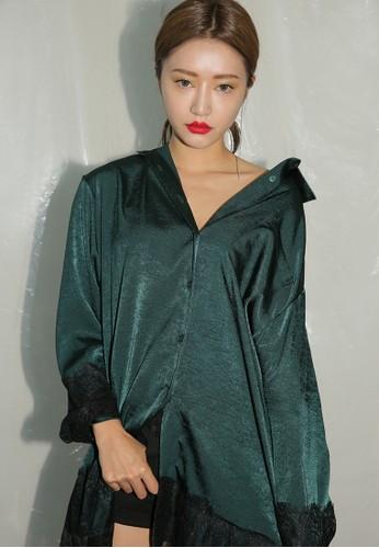 蕾絲邊飾寬版長袖esprit 台中襯衫, 服飾, 上衣