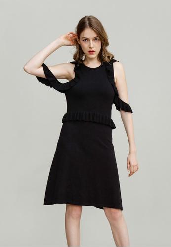 KLAPS black Ruffled Cold Shoulder Dress CD367AA4915EBFGS_1