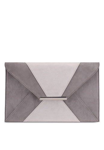 Dorothy Perkins grey Grey Two Tone Envelope Clutch Bag E86EFAC614ECD7GS_1