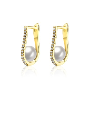 Glamorousky white Elegant and Fashion Plated Gold Pearl Earrings with Cubic Zircon 58D87ACBF8F7EAGS_1