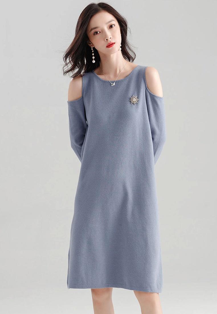 CA091826BL Long W Dress Blue One Shoulder F Cold Sleeves Sunnydaysweety Piece 17U8Hqw