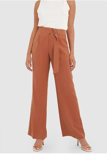 FORCAST brown FORCAST Judy Wide Leg Trousers 53C57AAAC68CD1GS_1