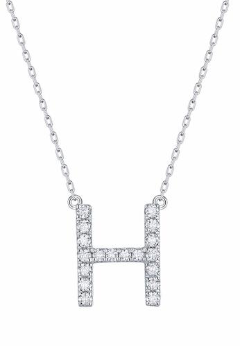Smiling Rocks 白色 10K白金0.27克拉實驗室培植鑽石訂製系列項鍊 97DB5AC0FFF28EGS_1
