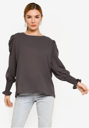 BYN grey Muslimah Long Sleeve Top 10740AAE66493DGS_1