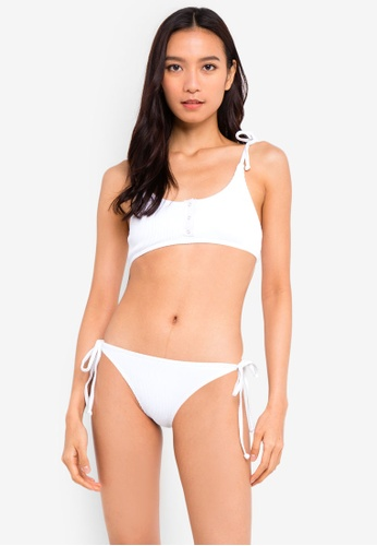 South Beach white Rib Bralet Top With Silver Popper Placket and Tie Side Brief Set E47EFUSB655B97GS_1