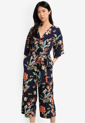 ZALORA navy Printed Wrapped Jumpsuit D54C8AA7D4C997GS_1