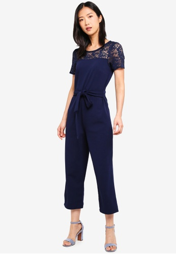 Dorothy Perkins 海軍藍色 Lace Top Tie Front Jumpsuit 3C51CAAEF47704GS_1