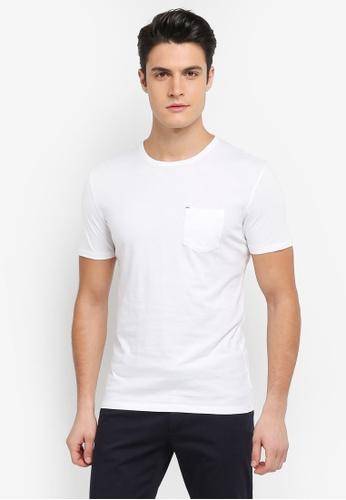 Sisley 白色 領口螺紋口袋短袖T恤 DD759AAC3561D6GS_1