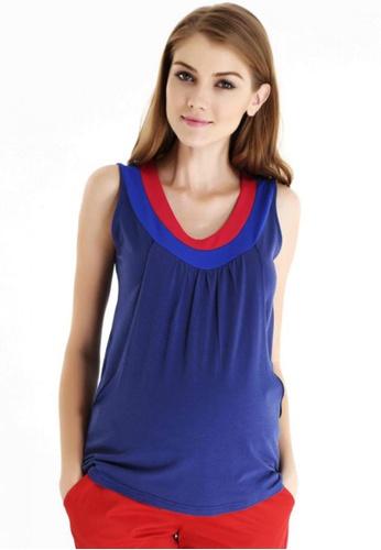 Bove by Spring Maternity navy Knitted Sleeveless Contrast Neck & Yoke Nursing Top LTN4804 SP010AA26SCBSG_1