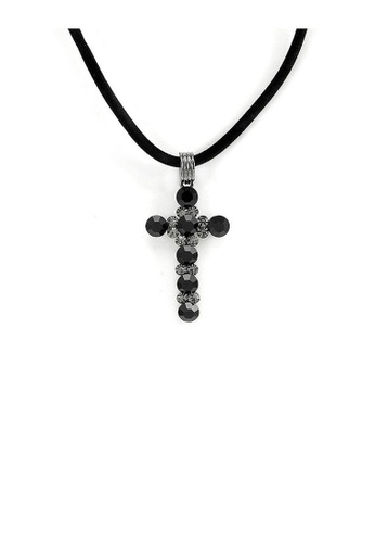 Glamorousky black Glistering Cross Pendant with Grey Austrian Element Crystals and Black CZ and Necklace AD528ACA65EB02GS_1