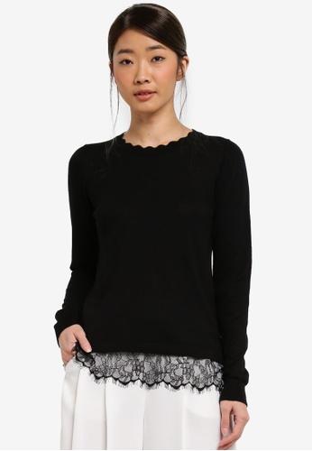 Dorothy Perkins black Petite Black Lace Hem Jumper 7D9E8AAD66C3F4GS_1
