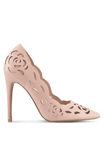 Velvet pink Lace Detail Heels 65E3CSH2E2CEB7GS_1