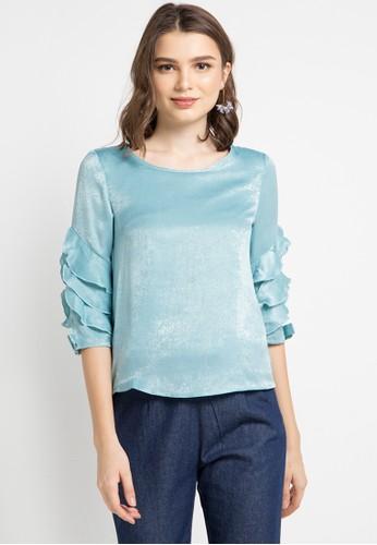 ELLE blue Ruffled Sleeve With Back Zipper Blouse 5CA1BAAC4A5D1EGS_1