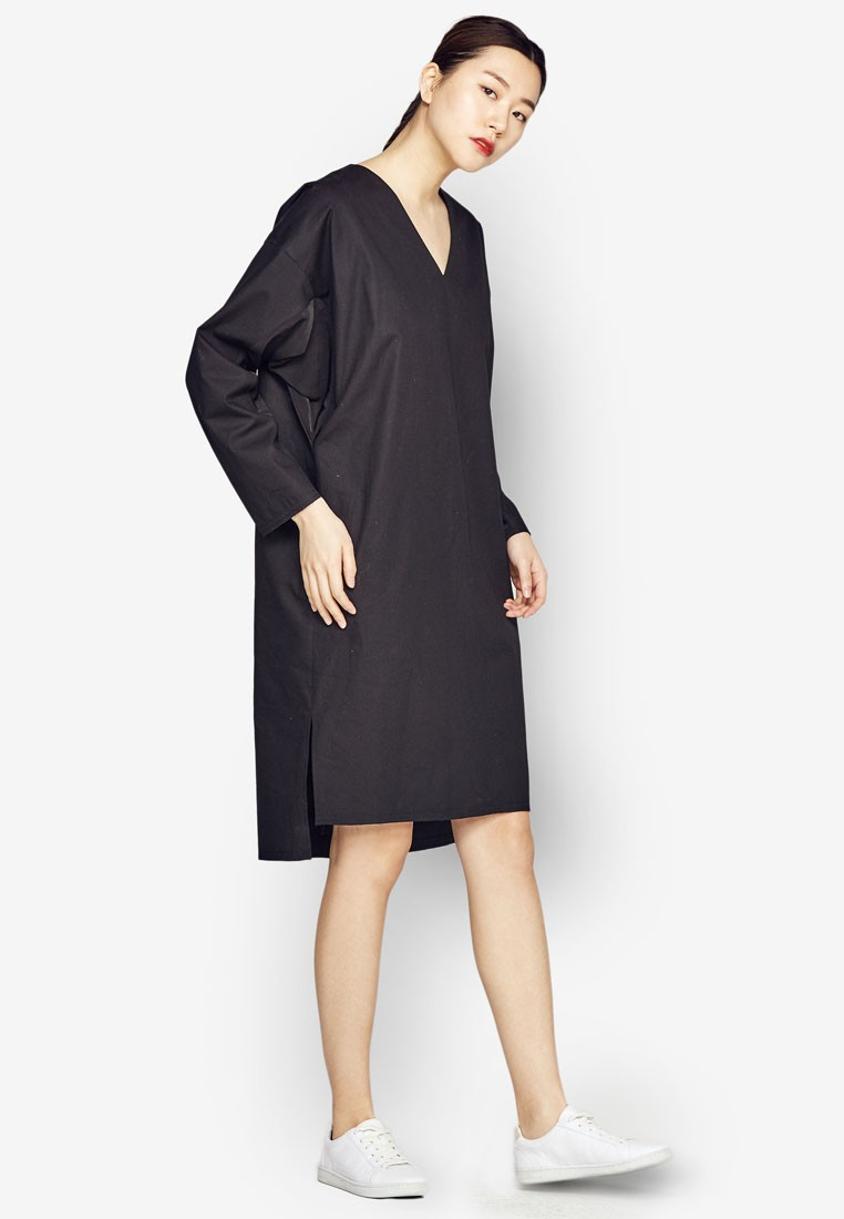 Oversized Shift Dress With Unbalanced Hemline