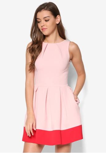 撞色傘狀裙esprit 品牌擺洋裝, 服飾, 洋裝