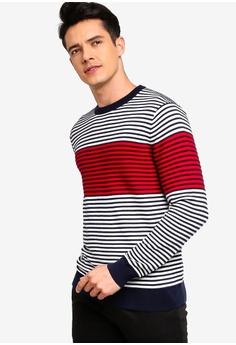 12e882c3 Brooks Brothers multi Red Fleece Textured Stripe Sweatshirt  9639CAA8D5116DGS_1