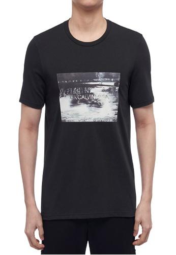 CK CALVIN KLEIN black Pima Cotton Jersey Short-Sleeved T-Shirt 428B4AAF60F28DGS_1